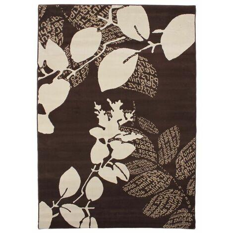 MASSAI - <p>Tapis motifs feuilles et textes chocolat et crème 160x230</p> - Marron