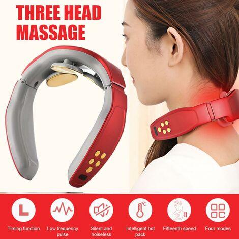 Masseur de cou de chaleur, masseur de cou intelligent d'impulsion électrique, massage de cou de voyage sans fil 3D