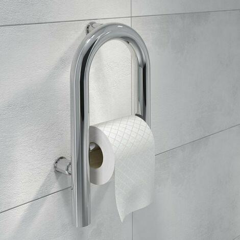 Massive Edelstahl WC & Waschbecken Aufstehhilfe Sicherheitsgriff Handlauf Badewannengriff Stützgriff - Edelstahlgriff mit Toilettenpapierhalter