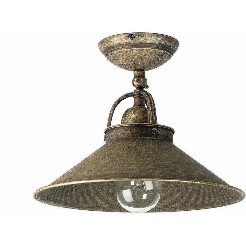Massive Messinglampe Deckenleuchte Vintage in Bronze Antik