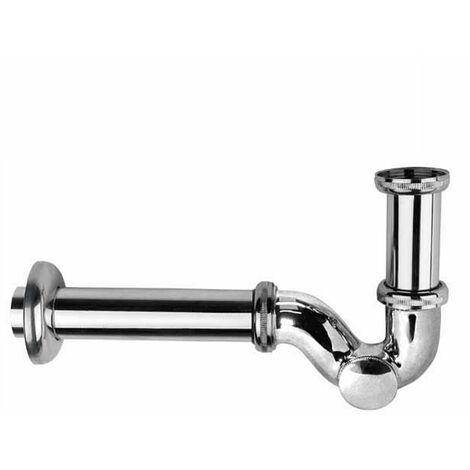 massiver flacher Siphon für Bidet & Waschtisch Sifon Abfluss Ablaufgarnitur mit Reinigungsklappe - Chrom