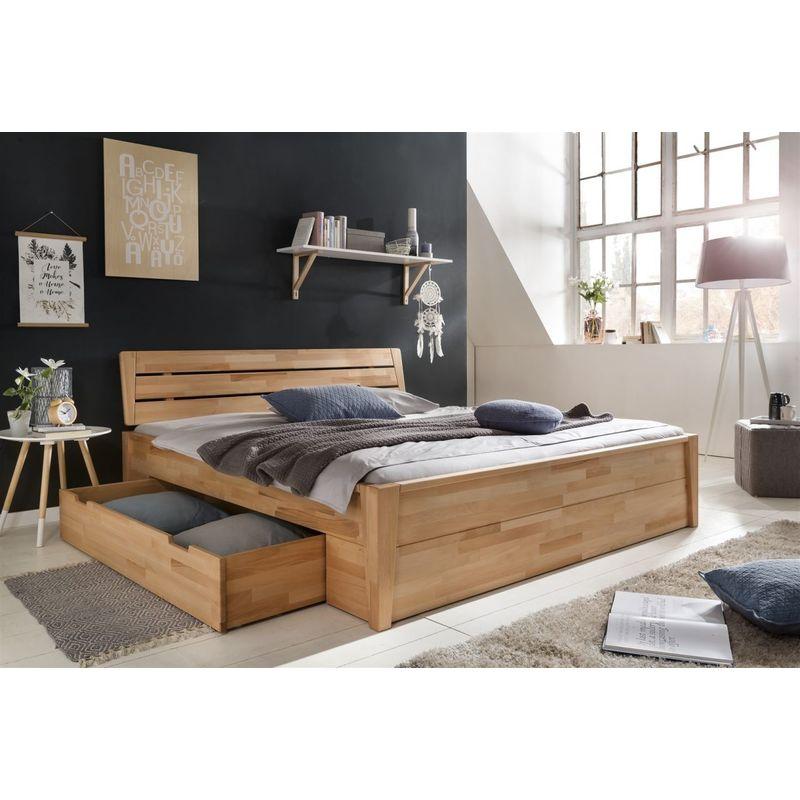 Massivholzbett Schlafzimmerbett RENO Bett Kernubuche massiv 160x200 cm - FUN MOEBEL