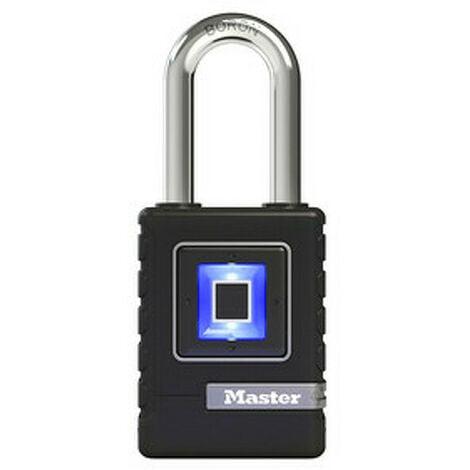 Master Lock 4901EURDLHCC - Cadenas Biométrique Haute Securité - Etanche - Empreinte Digitale et Code Directionnel de Secours - Anse Longue