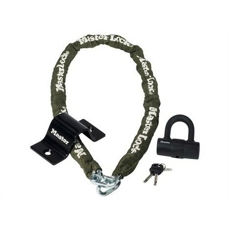 Master Lock 8273EURDAT Security Kit Mini D Lock Anchor & Chain 1.5m x 8mm