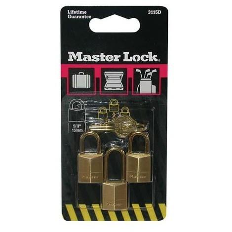 MASTER LOCK - Cadenas s'entrouvrant en laiton - lot de 3 - 15 mm