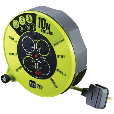 Masterplug CMU10134SL-PX PRO-XT Cassette Cable Reel 240V 10m 13A 4 Socket