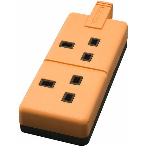 Masterplug ELS13/2 ORGC Free Mains Socket 13A - Dual Orange