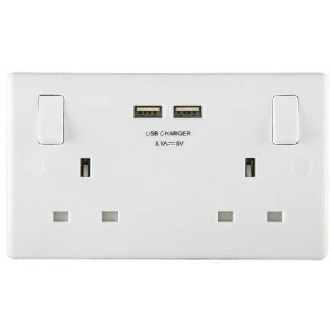 Masterplug MST822U3 Switched Socket 2-Gang 13A with 2 x USB Ports