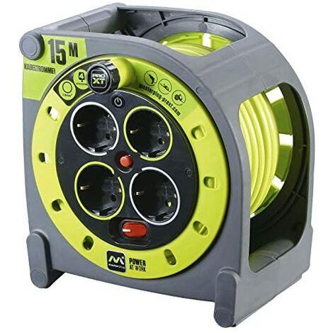 Masterplug Pro-XT - Rallonge électrique avec enrouleur de câble et prise multiple x4, 15m