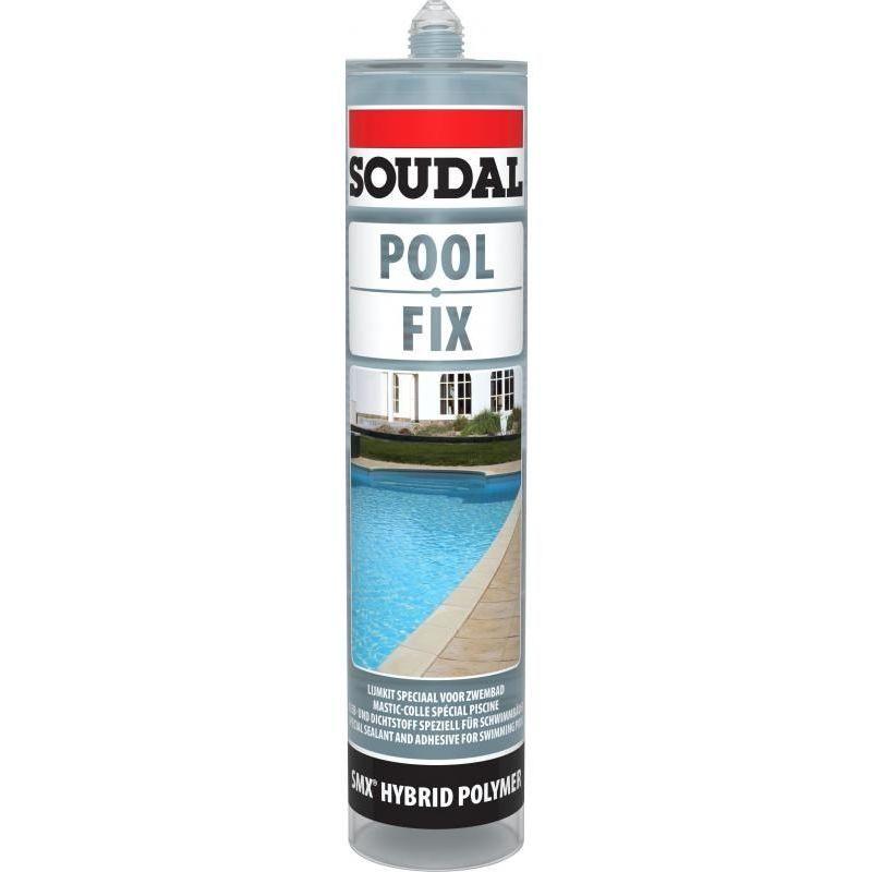Mastic colle piscine polymère POOL FIX, coloris transparent carton de 6 cartouches de 290ml