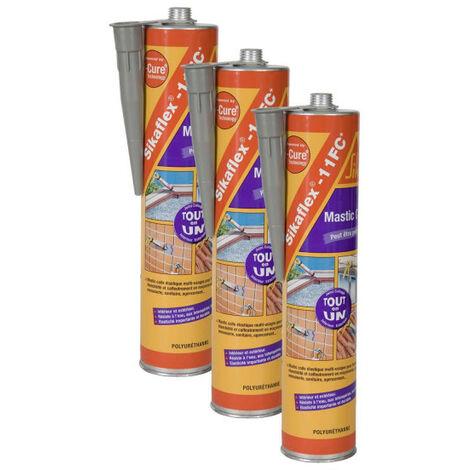 Mastic colle polyuréthane SIKA Sikaflex 11 FC Plus - Gris - 380g - Lot de 3