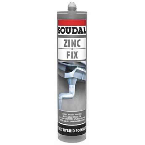 Mastic colle spécial zinc et toiture 290 ML Zinc fix Gris - 134631 - Soudal - Gris -