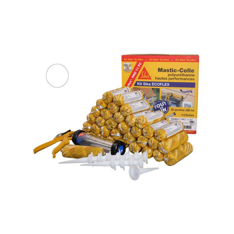 Mastic-colle tout-en-un à prise rapide SIKA Kit Sika Ecoflex - Blanc - 35 recharges Sikaflex PRO 11 FC - Blanc