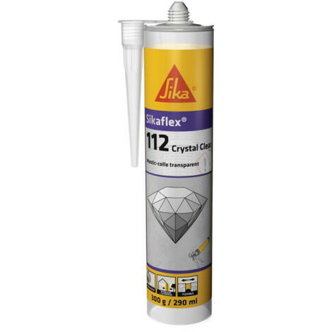 Mastic-colle transparent SIKA Sikaflex 112 Crystal Clear - 290 ml - Gris