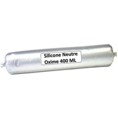 Mastic construction silicone neutre 11600 coloris blanc en poche de 400 ml - Blanc - Blanc