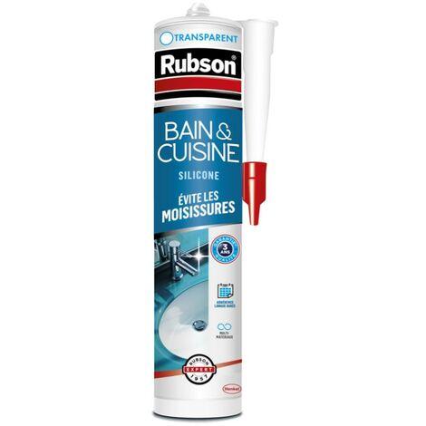Mastic d'étanchéité cuisine et bain RUBSON Silicone transparent 280 ml
