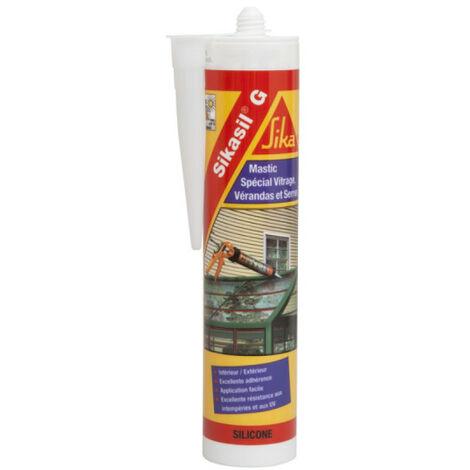 Mastic élastique silicone pour la confection de joints d'étanchéité - SIKA Sikasil G - Blanc - 300ml