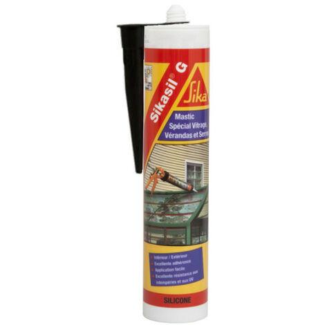Mastic élastique silicone pour la confection de joints d'étanchéité - SIKA Sikasil G - Noir - 300ml