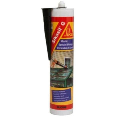 Mastic élastique silicone pour la confection de joints d'étanchéité - SIKA Sikasil G - Noir - 300ml - Noir