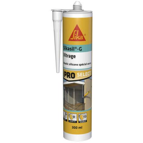 Mastic élastique silicone pour la confection de joints d'étanchéité - SIKA Sikasil G - Transparent - 300ml