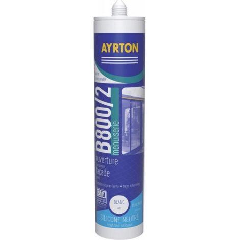 Mastic menuiserie silicone neutre B 800/2 coloris blanc cartouche de 300 ml - Blanc