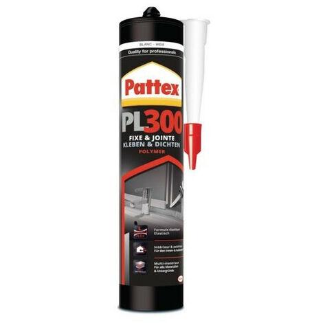 Mastic MS polymère tous matériaux Pattex PL300 coloris blanc carton de 12 cartouches de 392 g