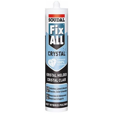 Mastic colle Fix All 290 ML crystal Transparent - 110980 - Soudal - Transparent -