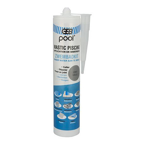 Mastic piscine POOL qualité professionnelle GRIS 290 ml
