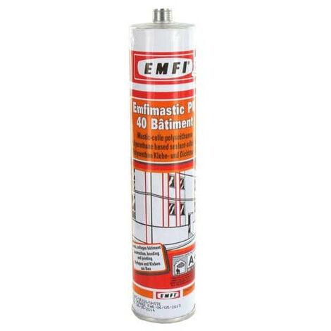 Mastic polyuréthanne blanc EMFI PU 40 bâtiment 310ml X 5