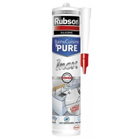 Mastic silicone bain&cuisine 280 ml pure inox gris métallisé rubson