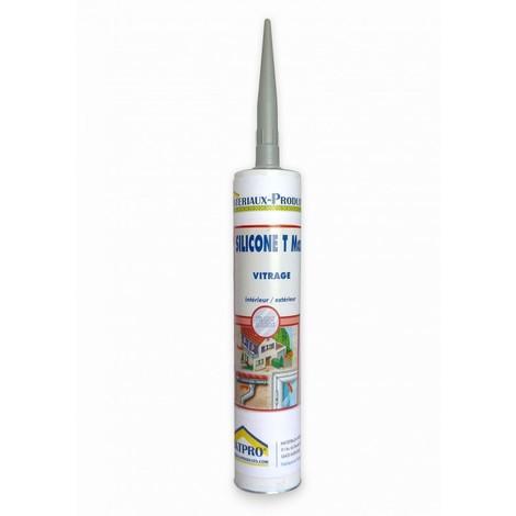 Mastic silicone cartouche translucide joints verre et aluminium - 310 cc Transparent