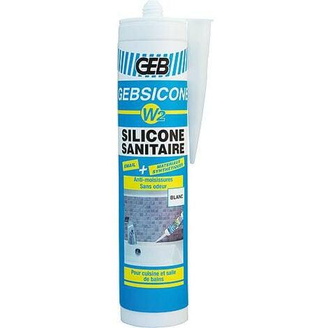 Mastic silicone Gebsicone W2 neutre pour joints appareils sanitaires cartouche 310 ml - translucide
