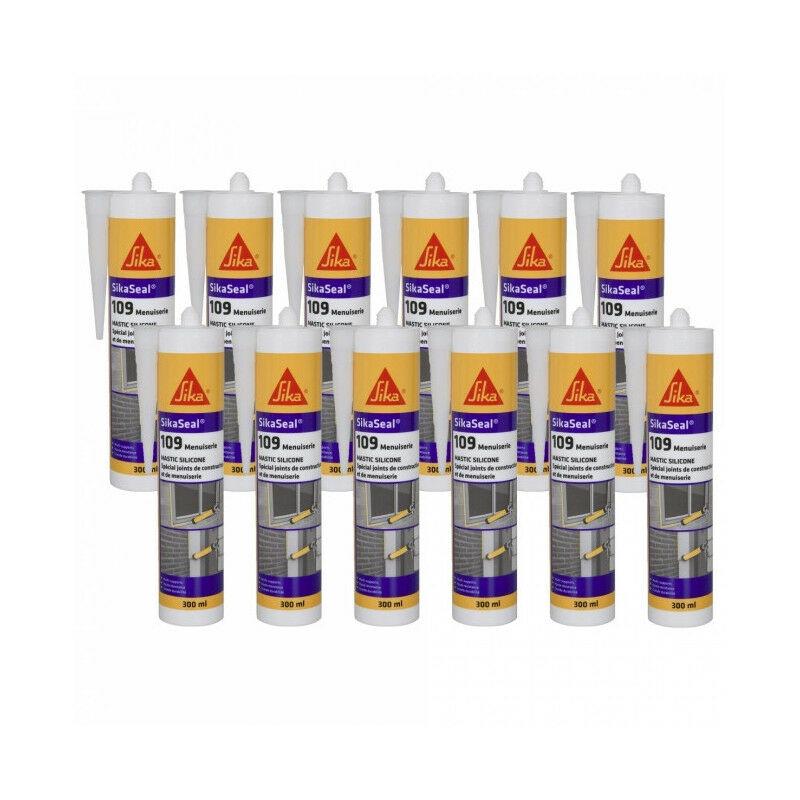 12x cartouches Mastic silicone neutre 300ml seal 109 : translucide, blanc, gris, pierre, noir, anthracite - Couleur: Transparent - Sika
