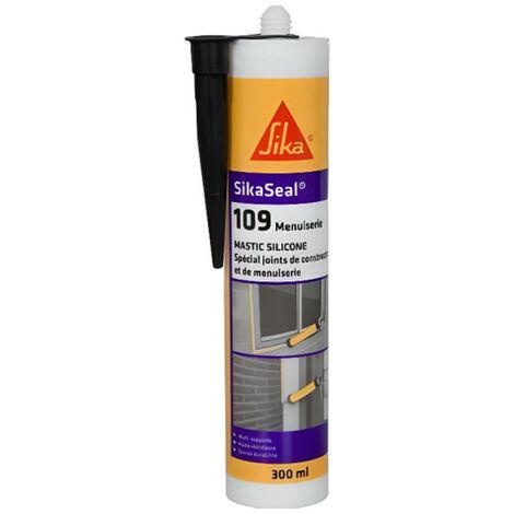 "main image of ""Mastic silicone neutre cartouche 300ml Sikaseal 109 SIKA: translucide, blanc, gris, pierre, noir, anthracite - plusieurs modèles disponibles"""