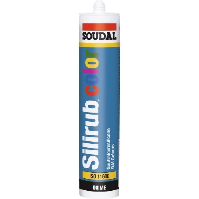 Soudal - Mastics menuiserie silicone neutre Silirub Color, coloris gris noir, RAL 7021, cartouche de 310 ml - Gris noir RAL 7021