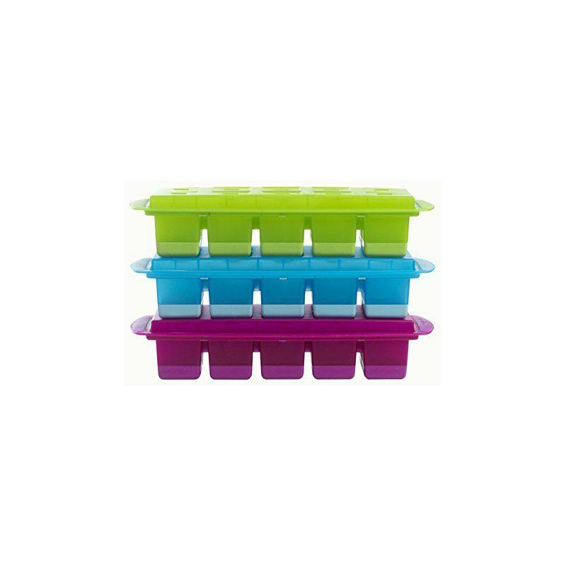 Bac Rose Cavités Souples-Démoulage Facile, Polypropylène, Couvercle Hygiénique et Anti-Odeurs, 10 Gros Glaçons de 3,5 cm³ -F00820, Plastique, Berry,