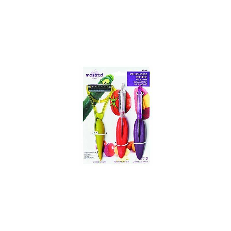 F20053 Lot de 3 Eplucheurs, Acier Inoxydable, Rouge/Violet/Vert, 21,3 x 15,7 x 2 cm - Mastrad