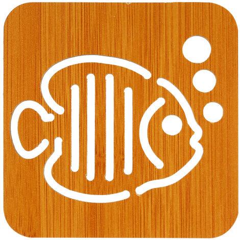 """Mat aislamiento de madera de bambu de aislamiento resistente al calor Mat Mat Salvamanteles con el patron encantador 3.7 """"* 3.7"""" * 0.16"""" , burbuja de los pescados"""