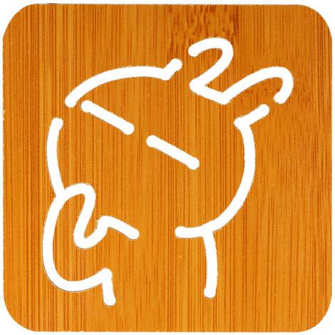 """Mat aislamiento de madera de bambu de aislamiento resistente al calor Mat Mat Salvamanteles con el patron encantador 3.7 """"* 3.7"""" * 0.16"""" , Conejo"""