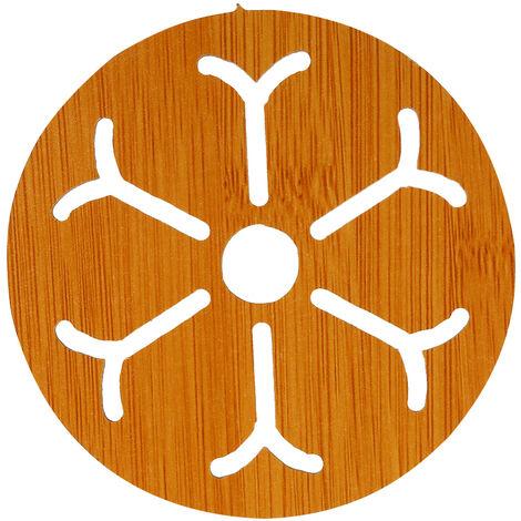 """Mat aislamiento de madera de bambu de aislamiento resistente al calor Mat Mat Salvamanteles con el patron encantador 3.7 """"* 3.7"""" * 0.16"""" , Nieve"""