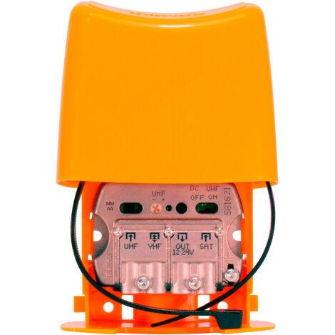 Mât Amplificateur TNT 24db 3 entrées UHF - VHF - FI LTE 700 5G Nanokom Televes 561621 2ème dividende numérique