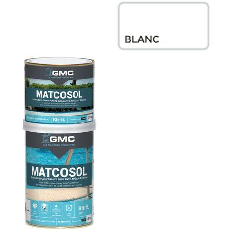 MATCOSOL PISCINE BLANC 1L- Résine epoxy bi- Composant grande résistance au chlore-GMC
