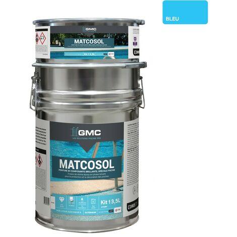MATCOSOL PISCINE BLEU 13,5L -Résine epoxy bi- Composant grande résistance au chlore-GMC