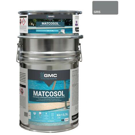 MATCOSOL PISCINE GRIS 13,5L -Résine epoxy bi- Composant grande résistance au chlore-GMC