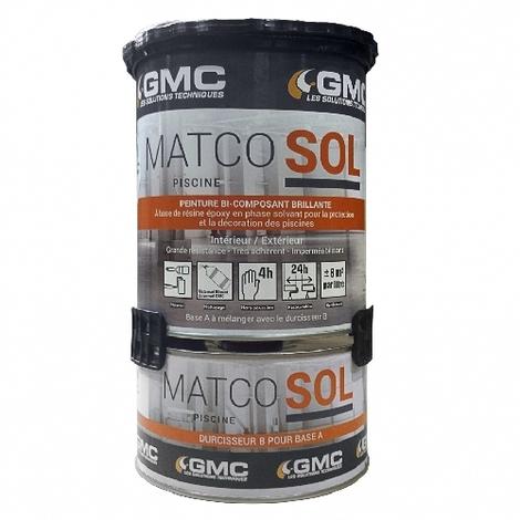 MATCOSOL PISCINE GRIS 1L -Résine epoxy bi- Composant grande résistance au chlore-GMC