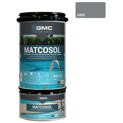 MATCOSOL PISCINE GRIS 3,5L -Résine epoxy bi- Composant grande résistance au chlore-GMC