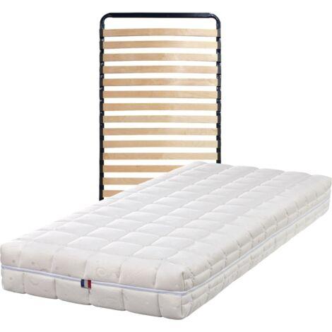 Matelas 100x200 + Sommier + pieds + Oreiller Mémoire Offerts - Latex Naturel - Compatible Sommiers Electriques - 80 Kg/m3 - Hauteur 21 cm - Confort Ferme