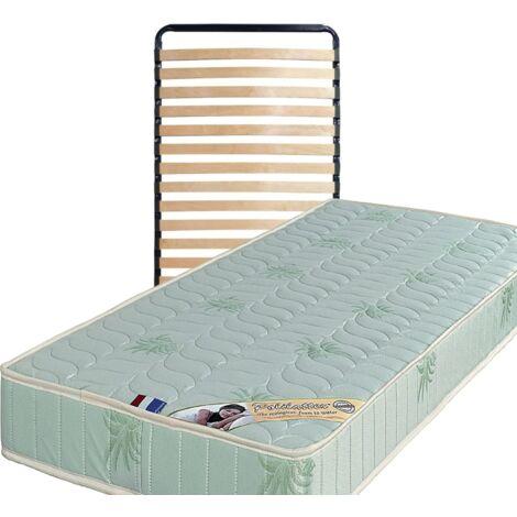 Matelas 120x200 + Sommier Démonté + pieds + Oreiller Mémoire Offerts Mousse Poli Lattex Indéformable - 19 cm - Ferme - Tissu à l'Aloe Vera - OEKO-TEX STANDARD 100 sans CFC