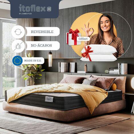 Matelas 160x200 cm - Pack 2 Oreillers Inclus - Itoflex - ressorts ensachés - indépendance du couchage, haut de gamme - Oeko-Tex, reversible - 23 cm (+/-2cm)