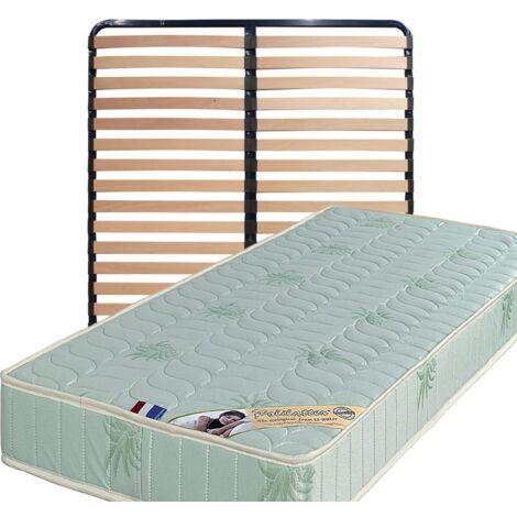 Matelas 200x200 + Sommier Démonté + pieds + Oreiller Mémoire Offerts Mousse Poli Lattex Indéformable - 19 cm - Ferme - Tissu à l'Aloe Vera - OEKO-TEX STANDARD 100 sans CFC